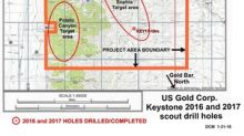 U.S. Gold Corp. reports results of the Fall 2017 scout drill hole program on the Keystone Project, Cortez Gold Trend, Nevada