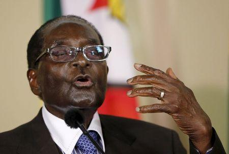 Zimbabwe's President Mugabe speaks during a press briefing at the Union building in Pretoria