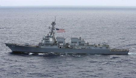USS Chafee sails during the RIMPAC Naval exercises off Hawaii