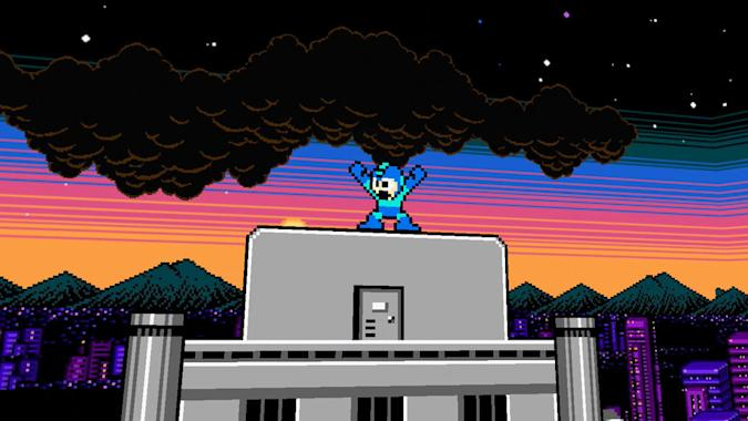 Teenage Engineering Capcom videopak. A retro gaming graphic showing Mega Man with his arms up in a V stance.
