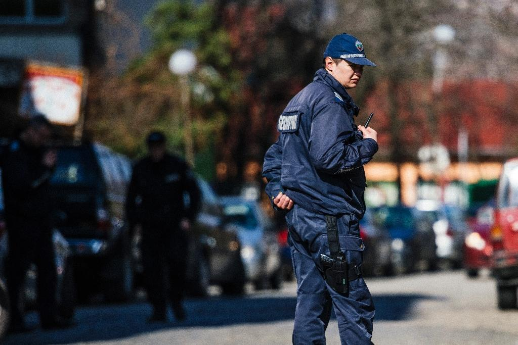 A policemen stands guard near the compound of the Palestinian embassy in Sofia on February 26, 2016