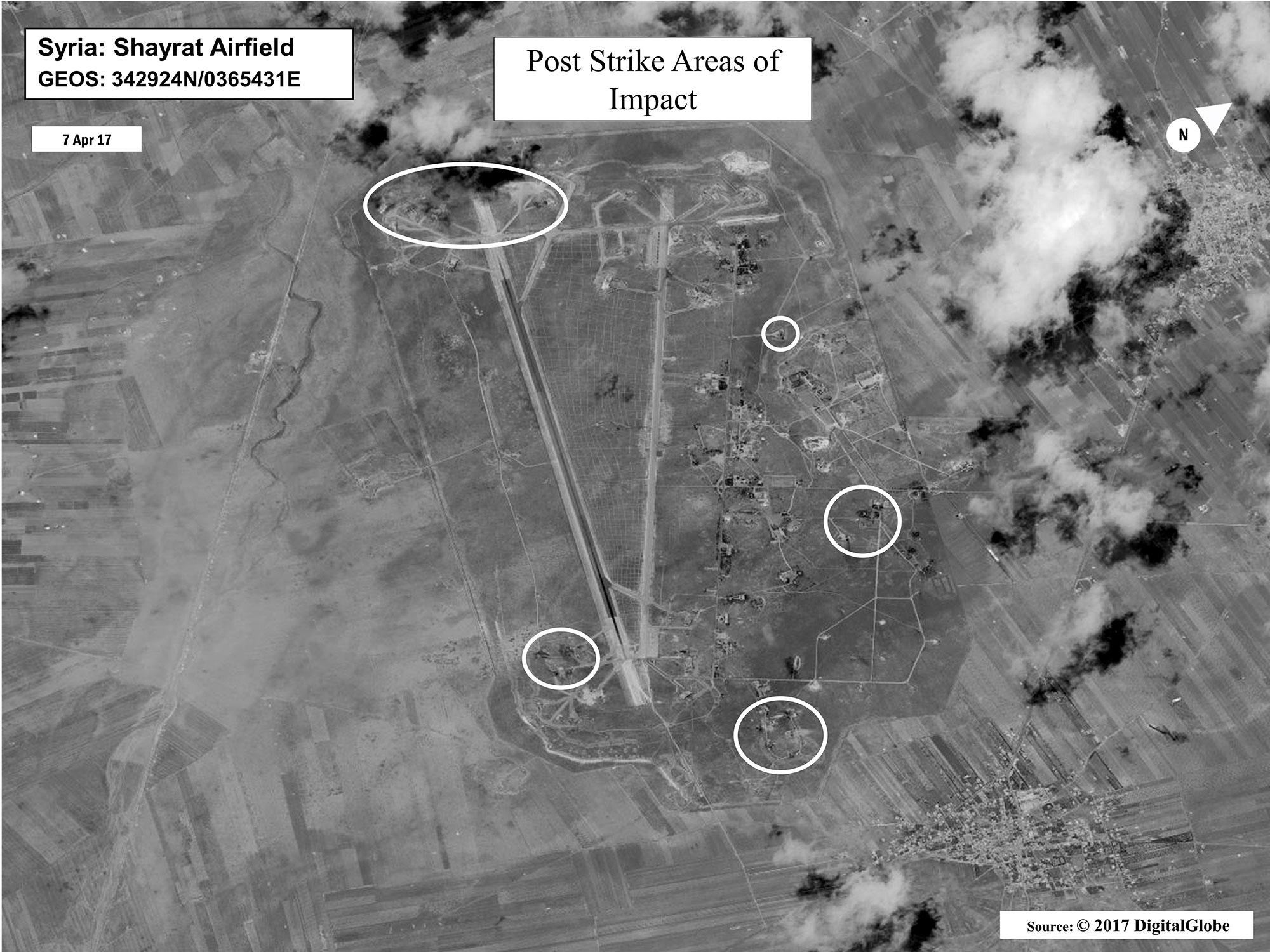 <p>A Defense Department damage assessment image of Shayrat Air Base in Syria. The United States blasted the air base with a barrage of cruise missiles on Friday, April 7, 2017, in fiery retaliation for this week's gruesome chemical weapons attack against civilians. (DigitalGlobe/U.S. Department of Defense via AP) </p>