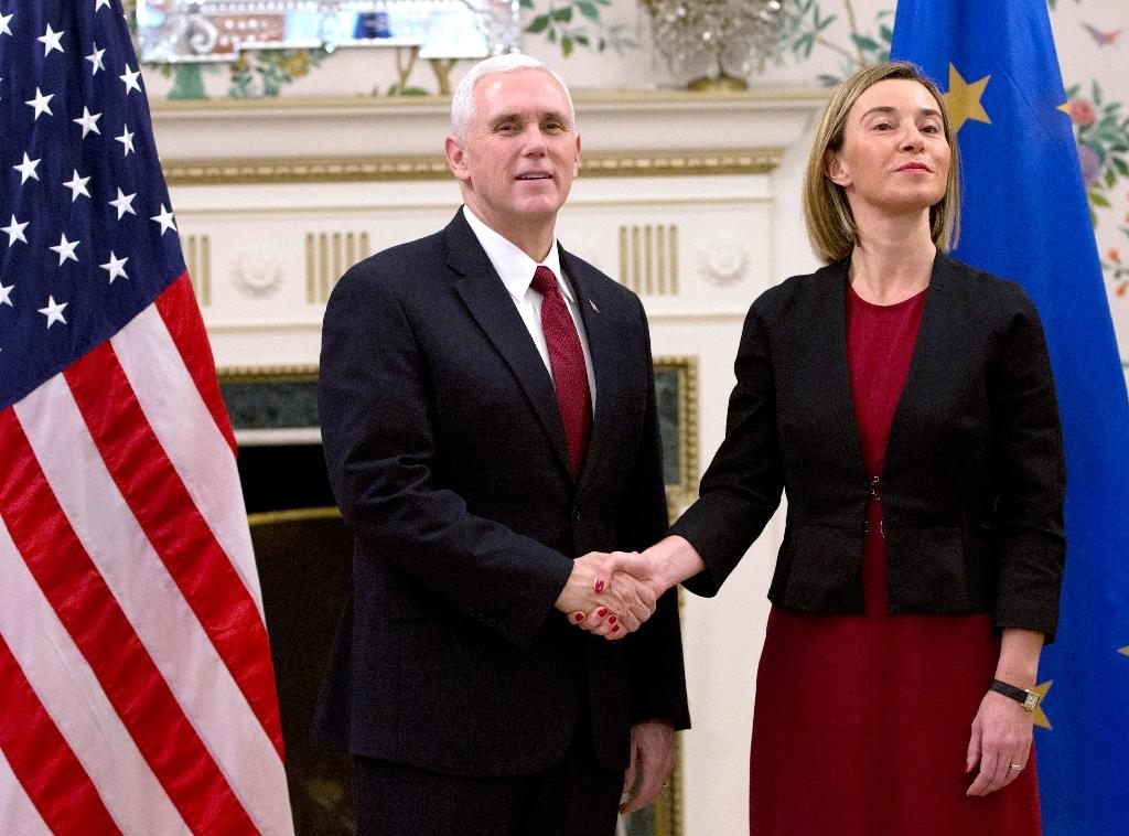 US Vice President Mike Pence held talks with EU foreign policy chief Federica Mogherini at the US embassy in Brussels, on February 20, 2017 (AFP Photo/Virginia Mayo)