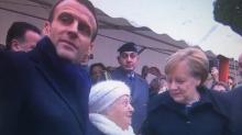 Una mujer de 101 años confunde a Merkel con la mujer de Macron