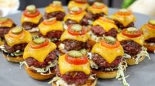 Wolfgang Puck's mini Kobe cheeseburgers with remoulade