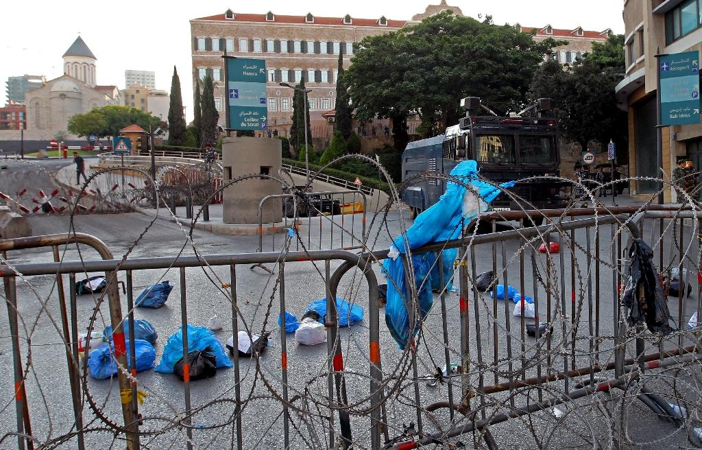 Garbage thrown by protesters on a street in front of Lebanon's parliament building in Beirut during a demonstration against the ongoing trash crisis on July 25, 2015 (AFP Photo/Anwar Amro)