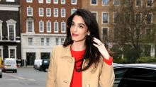 Pregnant Amal Clooney Rings In Spring With Scarlet Dress and Floral Heels