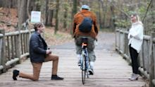Cyclist wrecks couple's honest proposal photo –after three months of planning