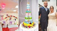 Couple have Disney themed wedding complete with four foot tall cake