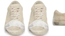 Expensive taped-up trainers costing £400 are accused of glorifying poverty