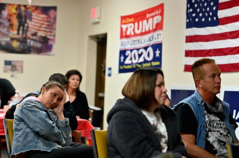 Locals in Old Forge, Pennsylvania, watch the first debate between president Donald Trump and his challenger Joe Biden