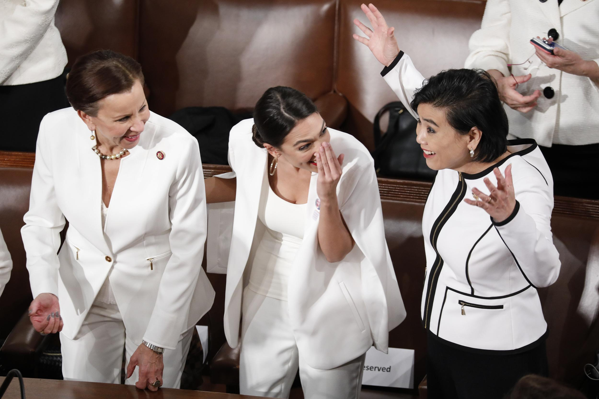 Representative Nydia Velazquez, a Democrat of New York, from left, Representative Alexandria Ocasio-Cortez, a Democrat of New York, and Representative Judy Chu, a Democrat of California, speak prior to a State of the Union address by U.S. President Donald Trump, not pictured, to a joint session of Congress at the U.S. Capitol in Washington, D.C., U.S., on Tuesday, Feb. 5, 2019. President Donald Trump cast his fight against illegal migration to the U.S. as a moral struggle, and charged in his second State of the Union address that partisan investigations threaten economic progress under his administration. Photographer: Aaron P. Bernstein/Bloomberg via Getty Images