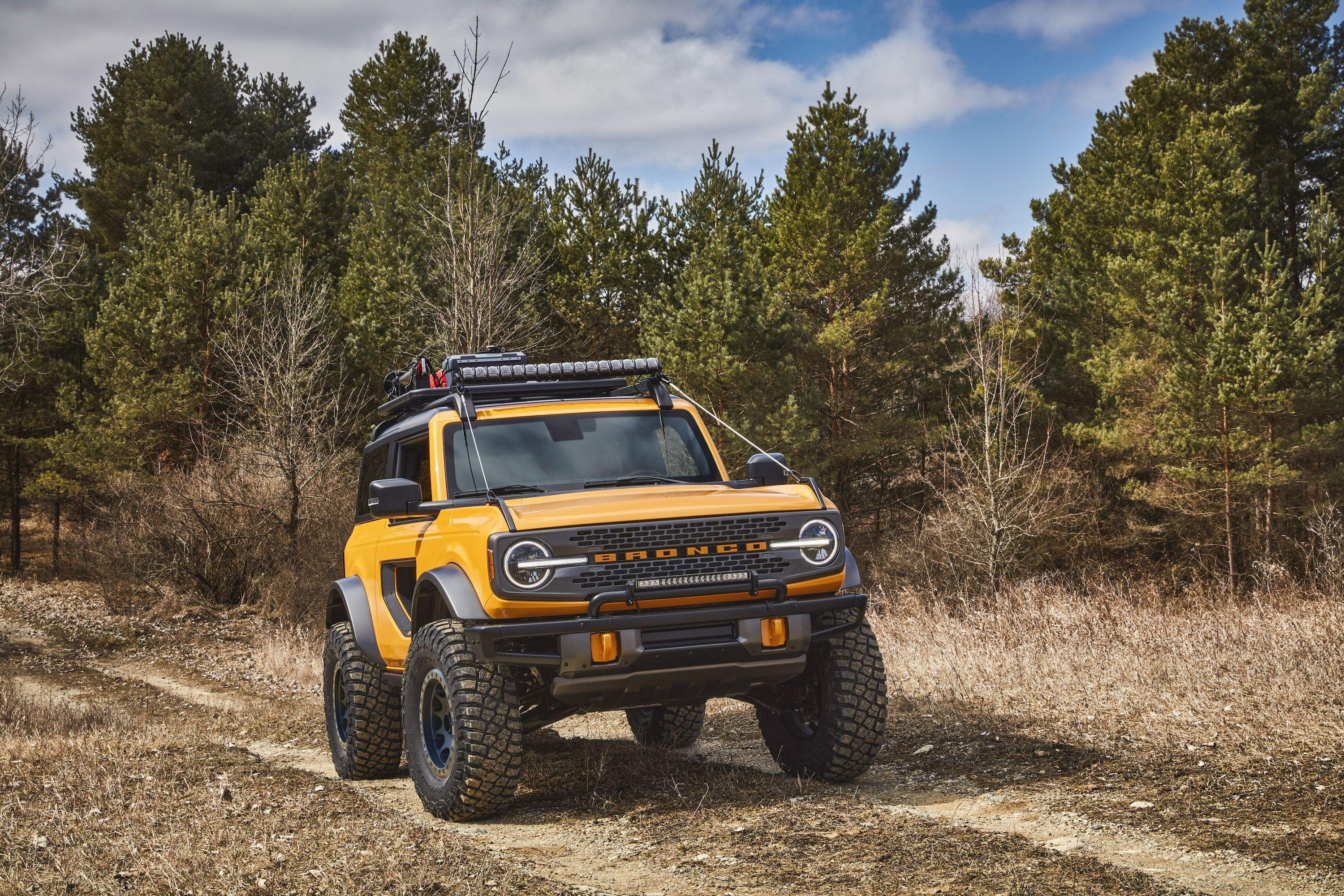 """<p>The <a href=""""https://www.roadandtrack.com/new-cars/future-cars/a33296962/2021-ford-bronco-price-specs-release-date-hp/"""" rel=""""nofollow noopener"""" target=""""_blank"""" data-ylk=""""slk:new Bronco"""" class=""""link rapid-noclick-resp"""">new Bronco</a> is arguably Ford's most important vehicle in decades. Aimed directly at the Jeep Wrangler's segment, it promises to be a fun, engaging off-roader with plenty of retro charm. </p><p>Ford released dozens of photos for us to get a look at the new Bronco close-up as it edges ever closer to production. Let's dive in. </p>"""