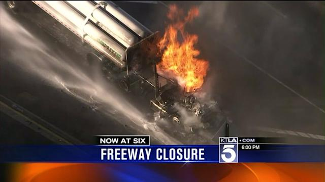 Big-Rig Carrying Hydrogen Catches Fire, Shutting Down SoCal Freeway