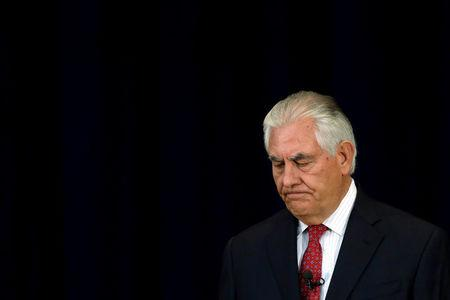 FILE PHOTO: U.S. Secretary of State Rex Tillerson delivers remarks to the employees at the State Department in Washington, U.S., May 3, 2017. REUTERS/Yuri Gripas/Files