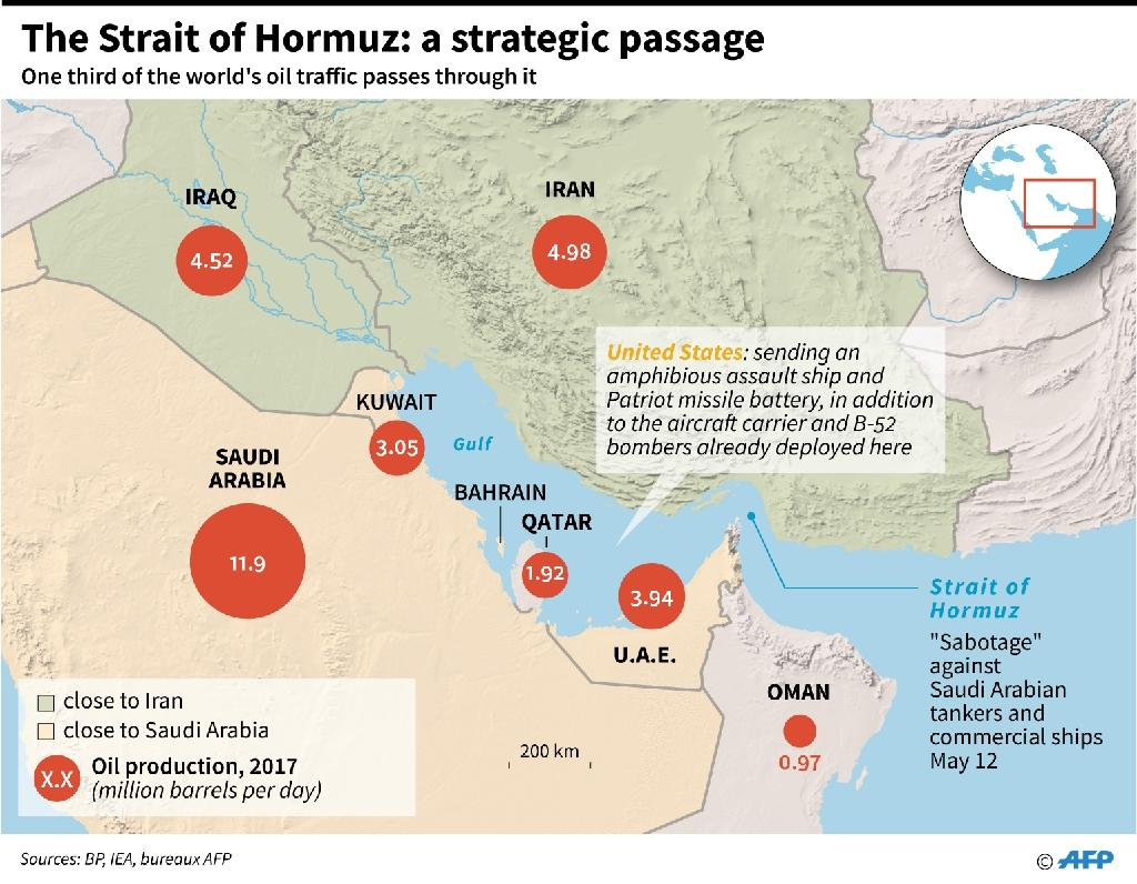Map locating Strait of Hormuz, and oil production and alliances in the Gulf countries. (AFP Photo/Thomas SAINT-CRICQ)