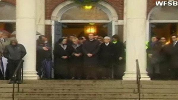 Moment of silence at Newtown town hall