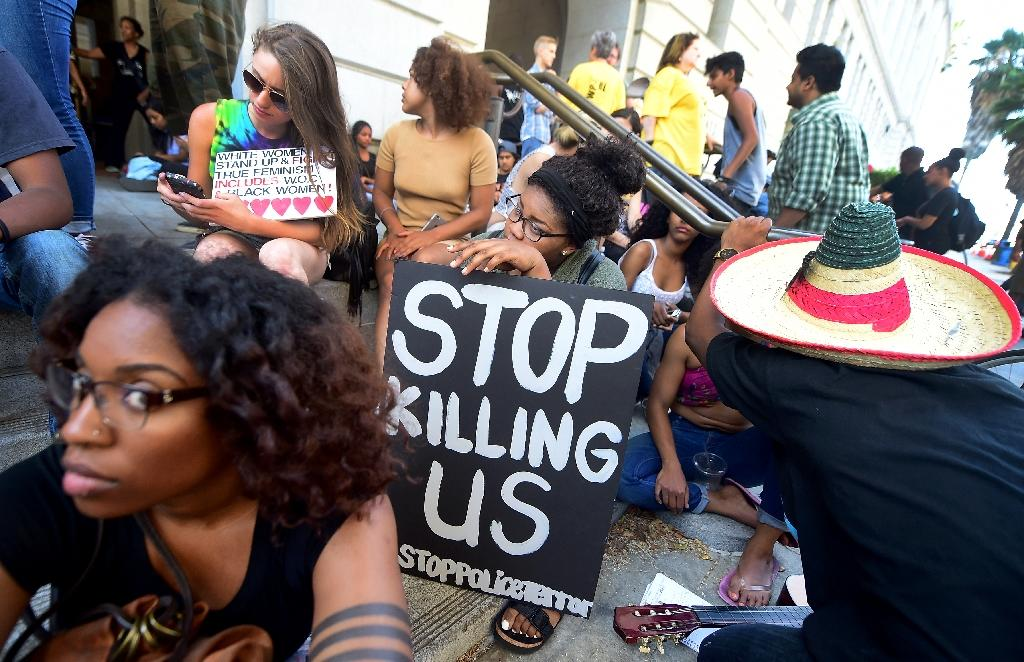Black Lives Matter activists and supporters protest in Los Angeles on July 12, 2016