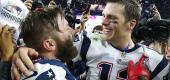 Julian Edelman, left, and Tom Brady after winning Super Bowl XLIX. (Getty Images)