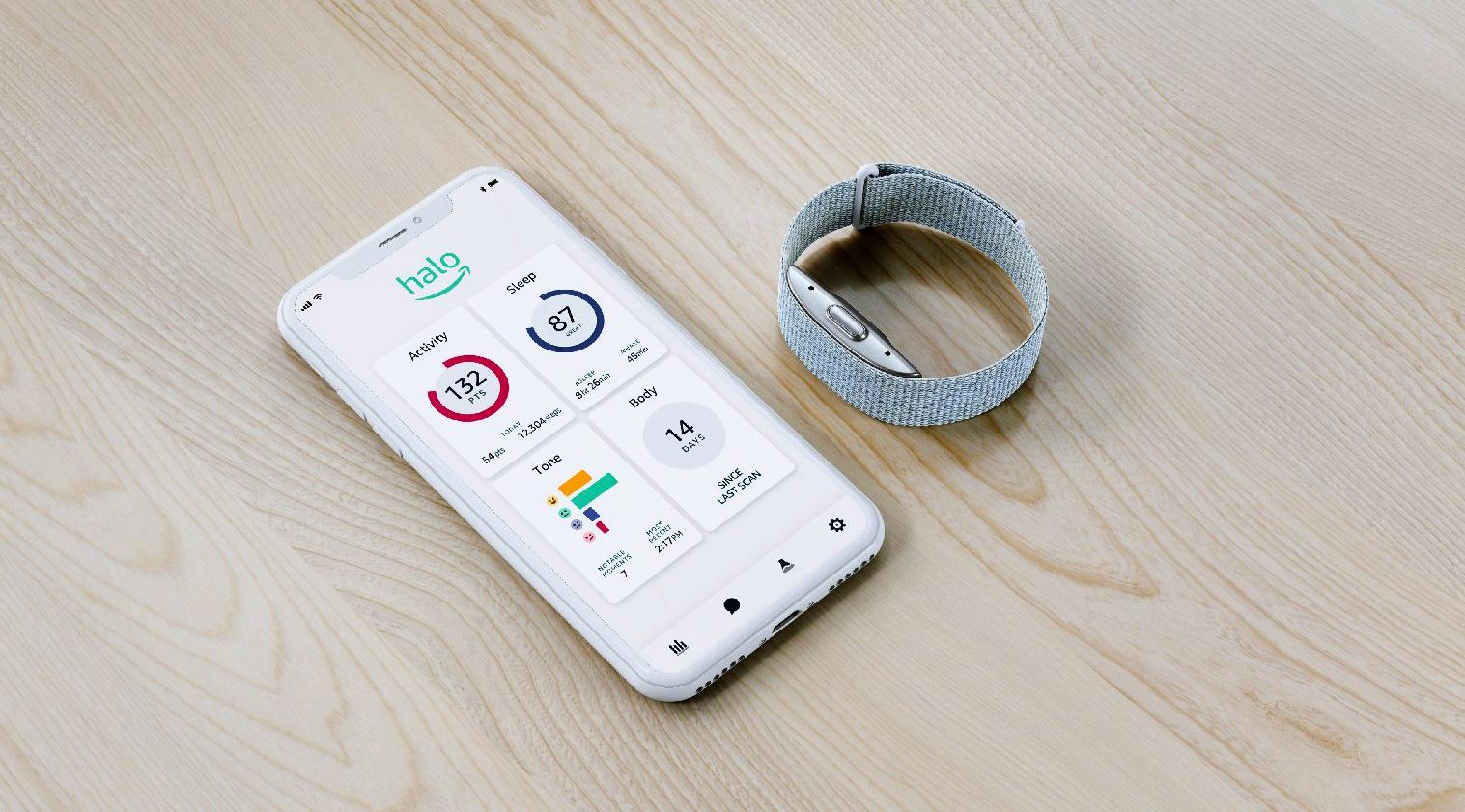 The Amazon Halo app shown on a phone screen next to a wrist-worn wearable.