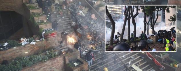 理大示威者再度撤離 警出水炮車催淚彈