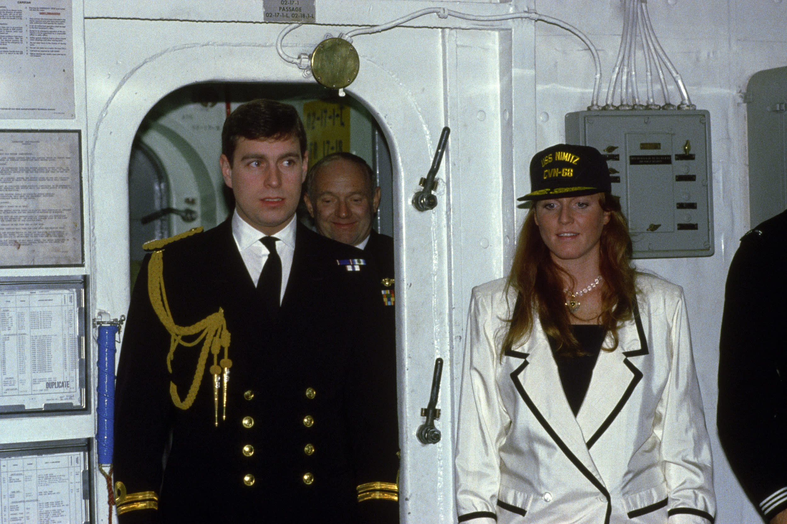 The Duke and Duchess of York during a tour of USS Nimitz, on their 'Buy British' tour of California.