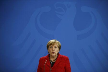 German Chancellor Angela Merkel reacts to U.S. election results at the Chancellery in Berlin, Germany, November 9, 2016. REUTERS/Axel Schmidt
