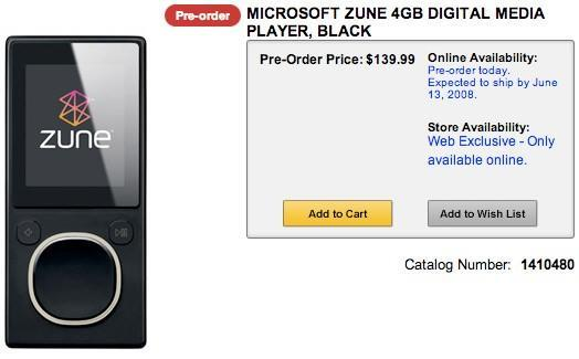 Zune shows up at Canadian retailer on schedule for June release