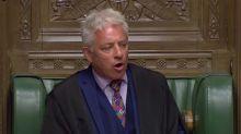 Non-Speaker! Croaky John Bercow's voice falters in Commons as MPs offer him Strepsils