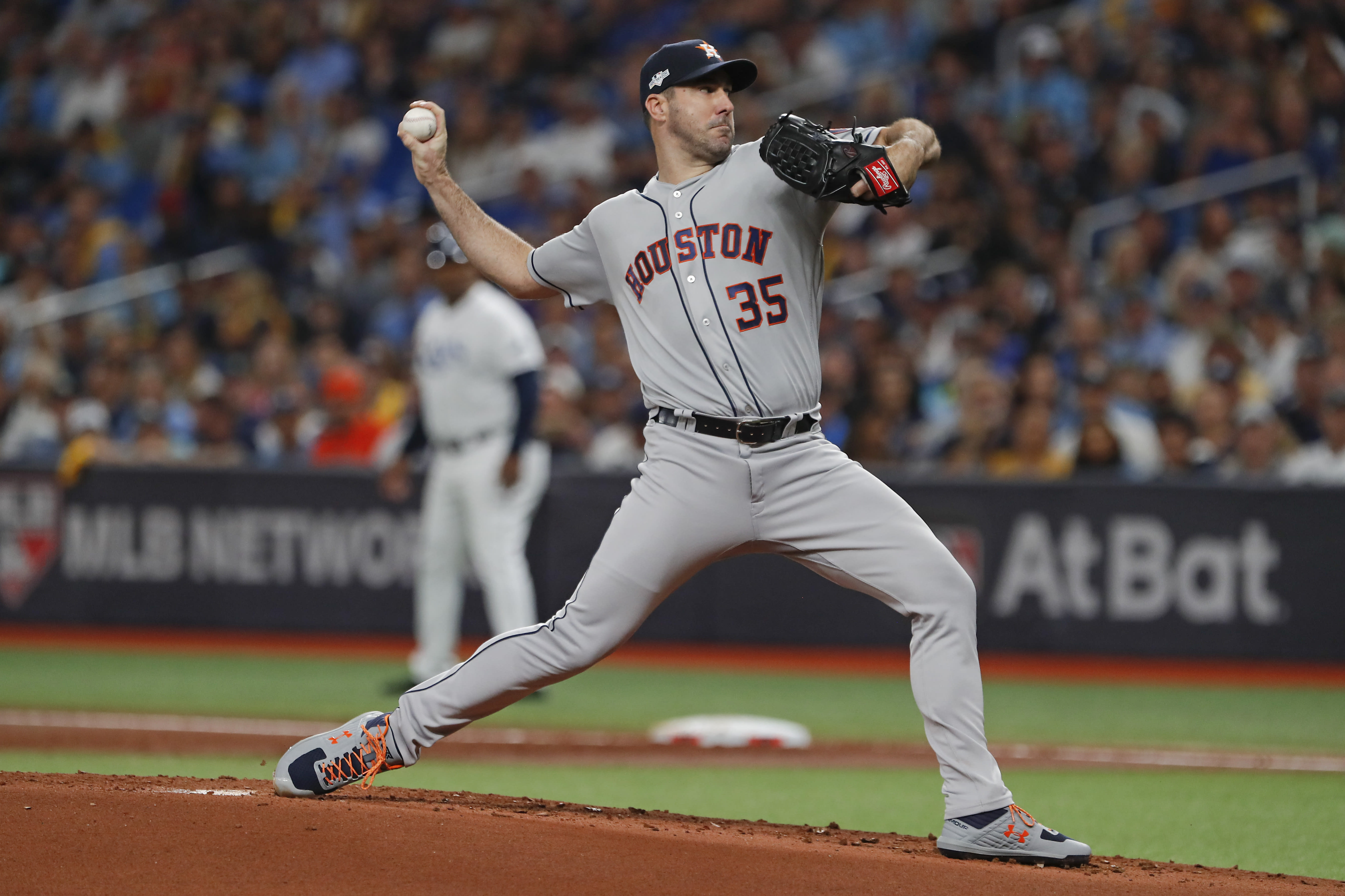 Houston Astros' Justin Verlander pitches against the Tampa Bay Rays in the first inning of Game 4 of a baseball American League Division Series, Tuesday, Oct. 8, 2019, in St. Petersburg, Fla. (AP Photo/Scott Audette)