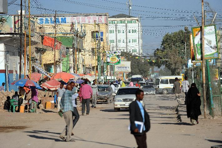 People walk in a street of Somaliland's captal Hargeisa on October 31, 2012