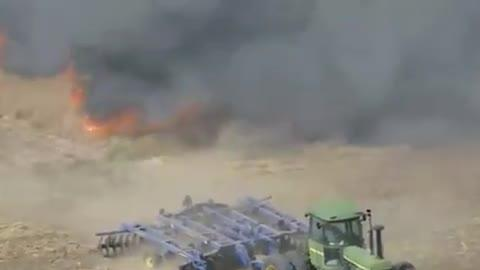 Clever Farmer Prevents Fire From Spreading