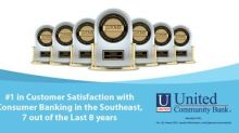 United Community Bank Ranks #1 in Customer Satisfaction with Consumer Banking in the Southeast, 7 out of the Last 8 Years
