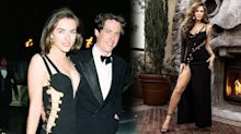 Elizabeth Hurley, 53, recreates her infamous Versace safety pin dress