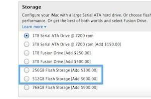 Apple adds 256 GB, 512 GB flash storage options to iMac