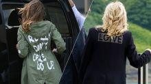 Jill Biden wears 'Love' jacket, drawing comparisons to Melania Trump's 'I really don't care, do u?'