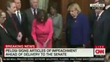 Pelosi angers GOP by using 30 different personalized pens to sign Trump's 'sham' impeachment articles