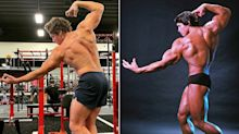 Joseph Baena recreates dad Arnold Schwarzenegger's famous Mr Olympia body building pose
