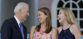 Joe Biden talking to students. (Reuters)