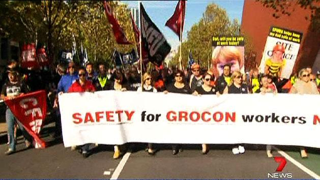 Union workers march through Melbourne