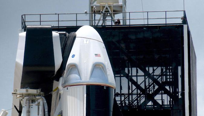 The Crew Dragon capsule sits on top of the SpaceX Falcon 9 rocket at Launch Complex 39-A at Kennedy Space Center, Fla., Friday, May 29, 2020. The second launch attempt of the Demo-2 mission is scheduled for Saturday at 3:22pm. (Joe Burbank/Orlando Sentinel/Tribune News Service via Getty Images)