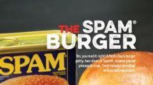 SPAMburger™ hamburger on the menu at Kelsey's restaurants in Canada