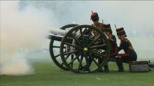 Bell ringing and gun salutes celebrate Britain's new royal baby