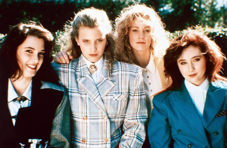 Winona Ryder, Kim Walker, Lisanne Falk, Shannon Doherty, in the original <em>Heathers</em>, 1988.