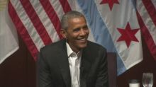 Obama opens first post-presidential event with a joke