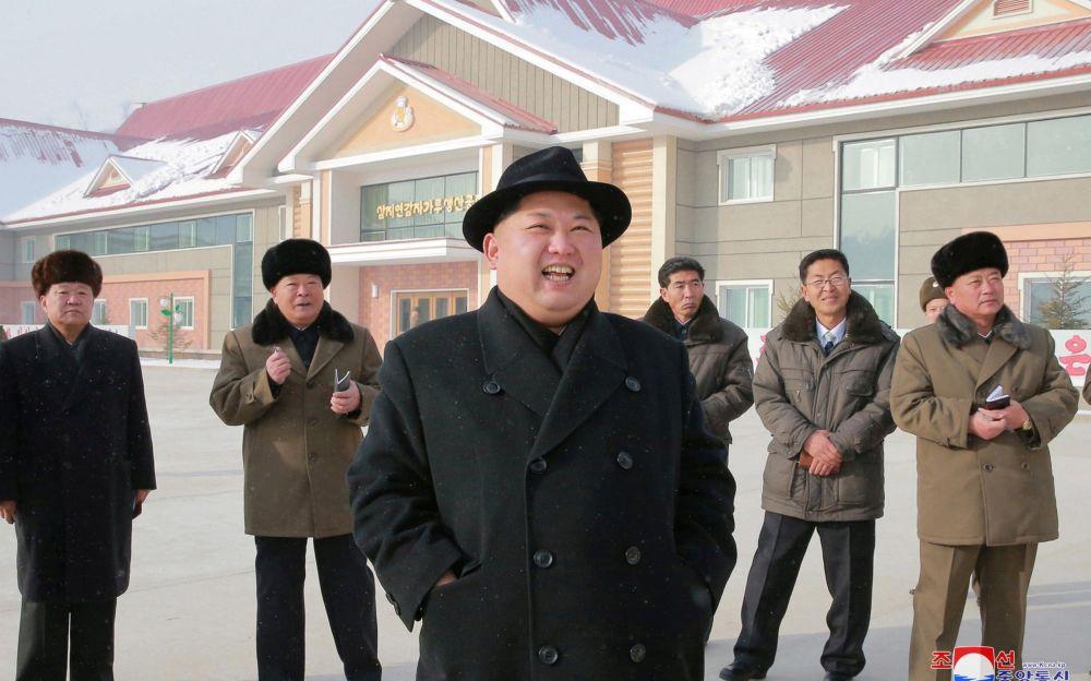 North Korea's leader Kim Jong Un is seen during the inspection of a potato flour factory - REUTERS