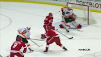 Steve Downie flicks a shot past Jimmy Howard