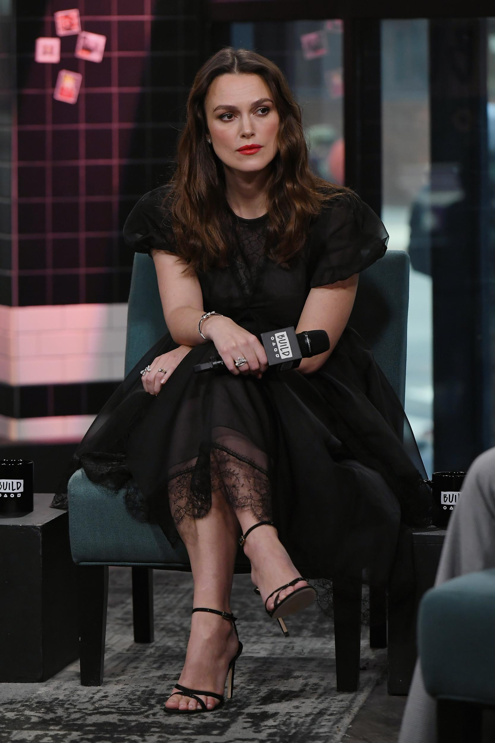 NEW YORK, NEW YORK - MARCH 12: Keira Knightley visits Build to discuss new movie 'The Aftermath' at Build Studio on March 12, 2019 in New York City. (Photo by Nicholas Hunt/Getty Images)