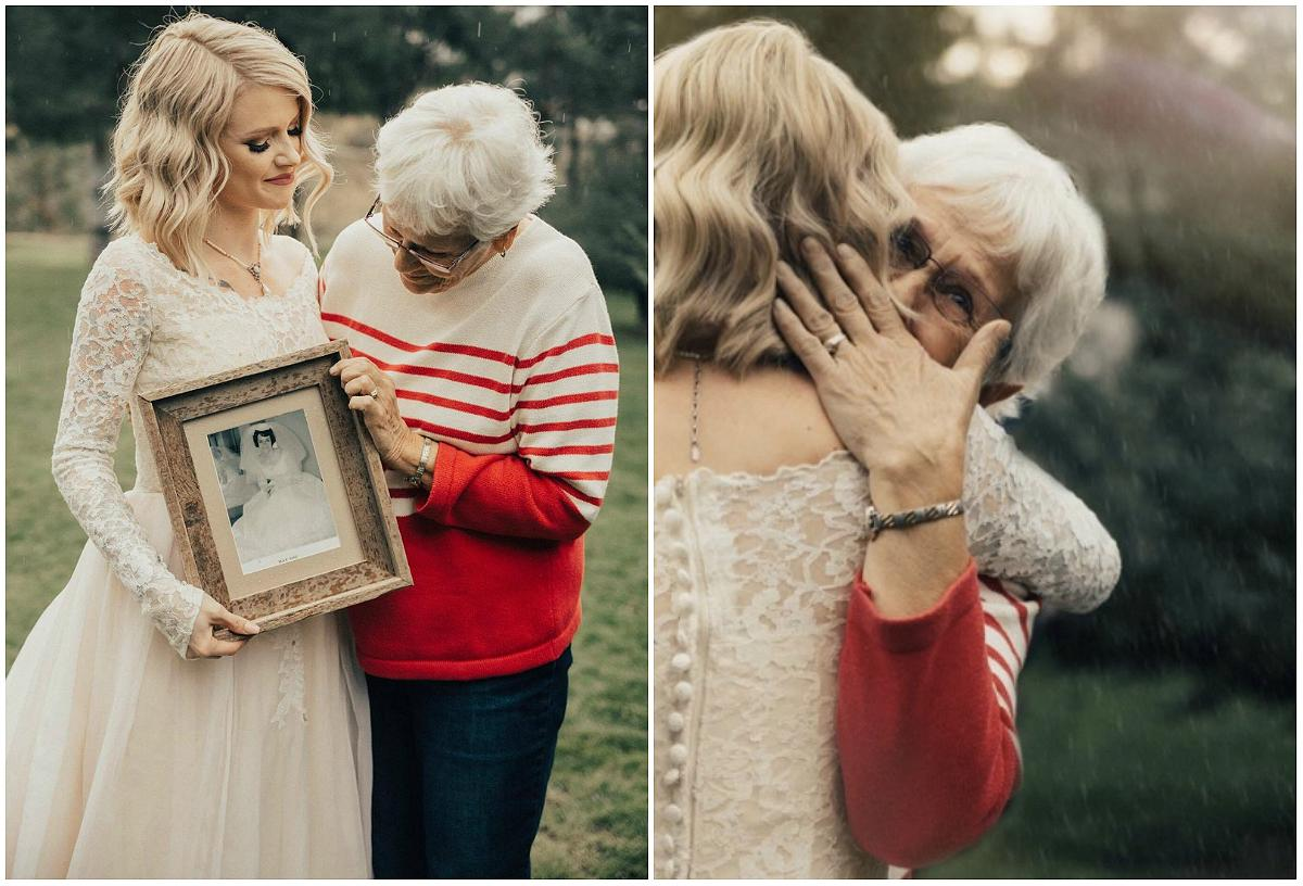 Bride surprises widowed grandma with wedding dress first for Grandmother dresses for grandson s wedding