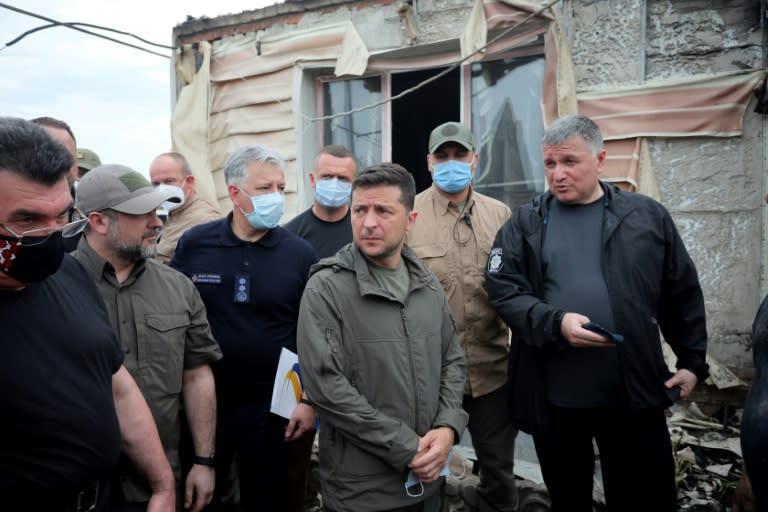 Ukrainian President Volodymyr Zelensky visited the scene on Wednesday (AFP Photo/Aleksey Filippov)